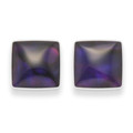 Sterling Silver Small Square Dyed Purple Paua Shell Stud Earrings Size:6mm  5809PP
