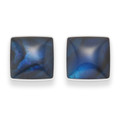 Sterling Silver Small Square Dyed Blue Paua Shell Stud Earrings Size:6mm  5809BL