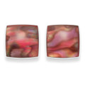 Sterling Silver Square Dyed Pink Paua shell stud Earrings Size: 10mm  5783PK