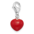 Sterling Silver Red Enamel Heart clip-on Charm - SIZE: 9mm x 9mm (23mm including fittings) 9950RED