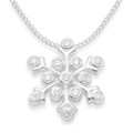 Sterling Silver Cubic zirconia Snowflake Pendant, hidden loop - SIZE:15mm - excluding chain. 04907