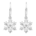 Sterling Silver Cubic Zirconia Snowflake Earrings on safety wires - SIZE:12mm. 04704