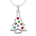 Sterling Silver Multi colour Cubic Zirconia Christmas Tree Pendant - SIZE: 23mm x 16mm. 04811 - Excluding chain