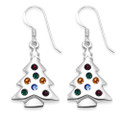 Sterling Silver Muti coloured Cubic Zirconia Christmas Tree Earrings - SIZE: 23mm x 16mm. 04711