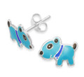 Sterling Silver Children's Turquoise Enamel Dog stud Earrings -LAST FEW LOWER PRICE  SIZE:10mm x 8mm- 5947
