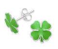 Sterling Silver Green Enamel Shamrock stud Earrings - SIZE: 9mm. St. Patrick's day Irish Green earrings. 5970GRN