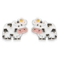 Sterling Silver Cow Earrings - Children's Cow Enamel stud Earrings - SIZE: .5939