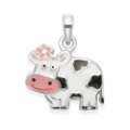 Sterling Silver Children's Cow Enamel Pendant - SIZE: 10mm x 12 mm.  4839. Chain not included
