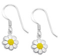 Sterling Silver Children's Yellow & white enamel Daisy drop Earrings - 10mm 4776