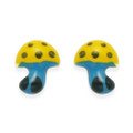 Sterling Silver Children's Enamel Mushroom stud Earrings - Yellow & Turquoise - SIZE:6mm 5900YL