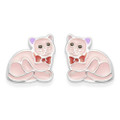 Sterling Silver Children's Cat Enamel Stud Earrings - SIZE: 6mm 5938