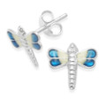 Sterling Silver Dark Blue & Cream Enamel Dragonfly studs 9mm x 9mm 5573DB