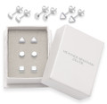 Sterling Silver set of 3 pairs stud Earrings - Square, Round & Triangle - Size: 4mm 5333/5/7/SET in Gift box