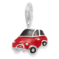 Sterling Silver Black & Red Mini Car Enamel clip-on charm - SIZE: 14mm x 10mm. 9963