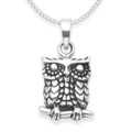 Sterling Silver Oxidised Owl on branch pendant - SIZE: 13mm x 10mm. Excluding chain. 4925