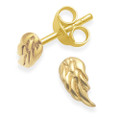 Gold plated Sterling Silver Children's Angel wings stud Earrings - SIZE: TINY: 7mm x 3.5mm. 5393GP