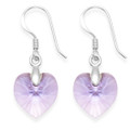 Sterling Silver Lavender Crystal Heart drop Earrings - Size: 10mm x 10mm. 7271LAV