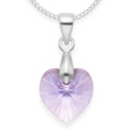 Sterling Silver Lavender Crystal Heart Pendant - Size: 10mm x 10mm. 8271LAV. Excluding chain