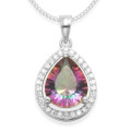Sterling Silver Mystic Quartz & Cubic Zirconia Teardrop Pendant - Size: 13 x 15mm 8232NEW. NO CHAIN INCLUDED