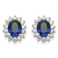 Sterling Silver Saphire Cubic Zirconia Earrings. Blue oval and clear Cubic Zirconia stud Earrings - Size:14mm x 12mm. 5729DB