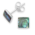 Sterling Silver Square Paua Shell Stud - silver back - Size 6mm. 5807PS