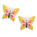 Sterling Silver Enamel Butterfly stud Earrrings - Yellow & Red - SIZE: 9mm x 8mm. 5921YEL