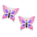 Sterling Silver Enamel Butterfly stud Earrrings - Pink & Purple - SIZE: 9mm x 8mm. 5921PK