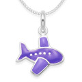 Sterling Silver Children's Aeroplane Pendant - Purple enamel Jumbo jet plane Necklace - SIZE: 14mm x 12mm. 4866PP. Excluding chain