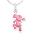 Sterling Silver Children's Pink Elephant Enamel Pendant - SIZE:10mm x 15mm. 4871PK. Excluding chain