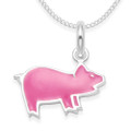 Sterling Silver Children's Pink Pig Enamel Pendant - SIZE: 15mm x 10mm. 4872PK. Excluding chain