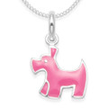 Sterling Silver Children's Pink Dog Enamel Pendant - SIZE: 14m x 13mm. 4870PK. Excluding chain