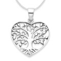 Sterling Silver Tree of Life in Heart Pendant - SIZE: 20mm. Excluding Chain. 8100