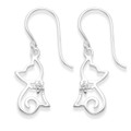 Sterling Silver Cat drop earrings - Open design Cat Earrings with crystal collar - Size:12mm x 7mm 7820