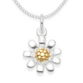 Sterling Silver Silver Sunflower Pendant with Gold plate centre - Size:11mm. Excluding Chain. 4976GP