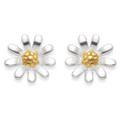 Sterling Silver Sunflower stud Earrings with 1 micron Gold plate centre - 8mm. 5976GP