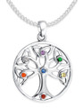 Sterling Silver plated Tree of Life Pendant with mixed Stones - SIZE: 27mm (35mm including pendant top) Excluding chain. Z8299