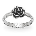 Sterling Silver Rose Ring with patterened band 1197
