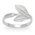 Sterling Silver double Leaves Ring 1196