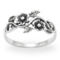 Sterling Silver Ring with Flowers & Leaves 1164