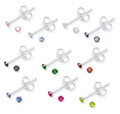 Pack of 10 mixed colours - Sterling Silver Tiny Crystal 2mm round Stud Earrings. SIZE:2mm 5548set