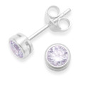 Sterling Silver Cubic Zirconia studs with silver surround - size: 4mm. Lavender/Lilac/Mauve. 5555LAV