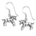 Sterling Silver Unicorn earrings - Size:16 mm x 11mm - double sided - weight: 3.7gms - excellent quality. 6030