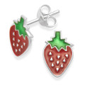Sterling Silver Strawberry Earrings with Red & Green Enamel - SIZE:11mm x 7 mm. 5568
