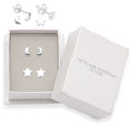 Sterling Silver small Moon Stud & star studs. Moon: 4.5mm x 2mm. Star:  5mm 5140 & 5150 In Heather Needham gift box