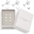 Set of 3: Sterling Silver small Flat star Stud Earrings - size: 3mm, 4mm & 5mm. In Heather Needham box. 5148SET