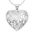 Sterling Silver  Heart Pendant with Flowers and butterflies - Heart SIZE: 23mm x 21mm - Excluding Chain. 8084