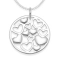 Sterling Silver round Pendant with Heart inside - SIZE: 20mm. Excluding Chain. 4991