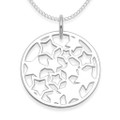 Sterling Silver Round Pendant with Stars inside - SIZE: 19mm - Excluding Chain. 4990