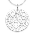 Sterling Silver circle with flowers Pendant - SIZE: 20mm- Excluding Chain. 8083