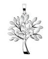 Sterling Silver Tree of Life pendant - sand brushed leaves - SIZE: 21mm x 19mm -  3.6gms. 4993
